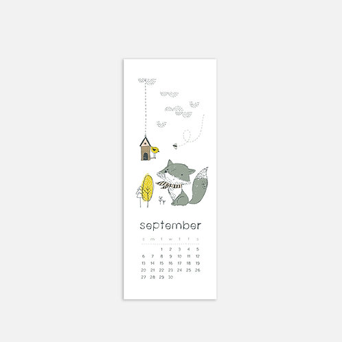 Whimsical Ye. September 2020 Half Sheet Calendar