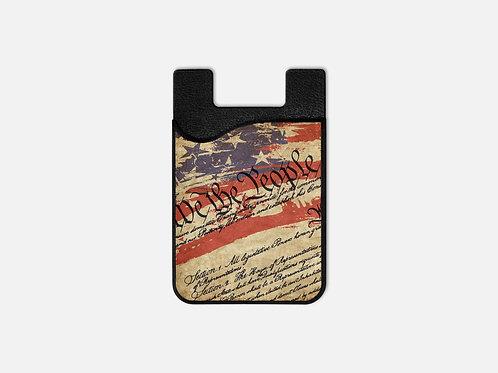 Script Patriotic United States We The People Card Holder