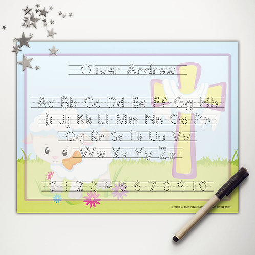 Blessed Easter Sheep Writing Mat (print)