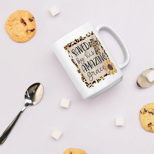 Saved By His Amazing Grace Leopard Print Cross Sunflower Ceramic Mug