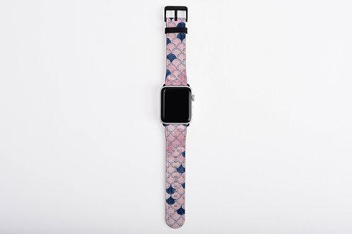 Blush + Navy Heavenly Mermaid Scales Designer Apple Watch Band
