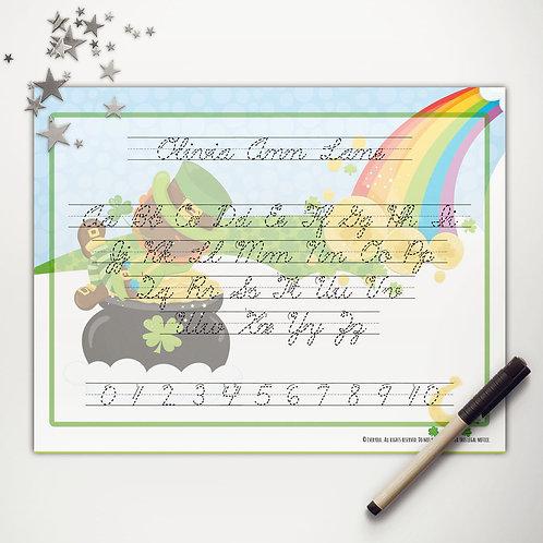 Good Luck Leprechaun Writing Mat (dark skin | cursive)
