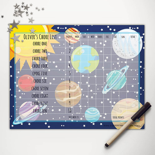 Solar System Basic Chore Chart with Points