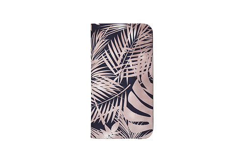 Navy + Rose Gold Luxury Tropical Leaves Folio Wallet Case