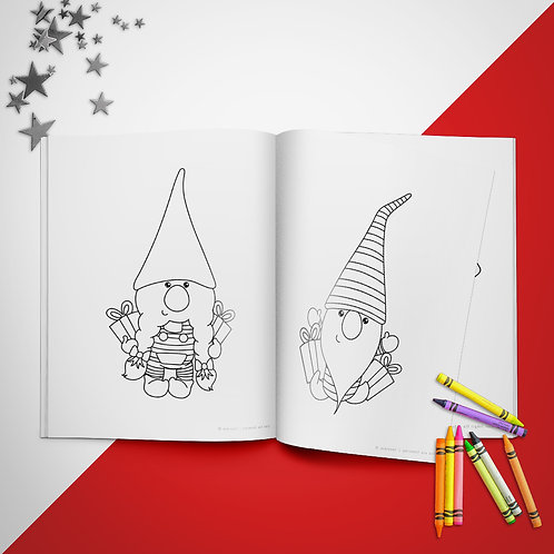 Christmas Gnome Coloring Book Pages