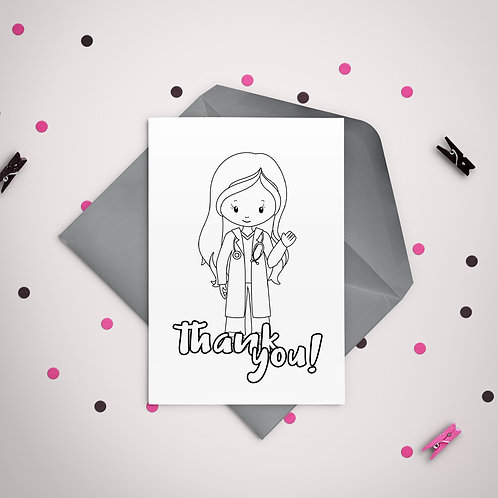 Color It Thank You Doctor Girl Printable Greeting Card