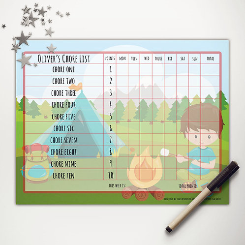 Tent Camping Boy Basic Chore Chart with Points (custom character)
