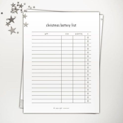 Christmas Battery List PowerPoint Template