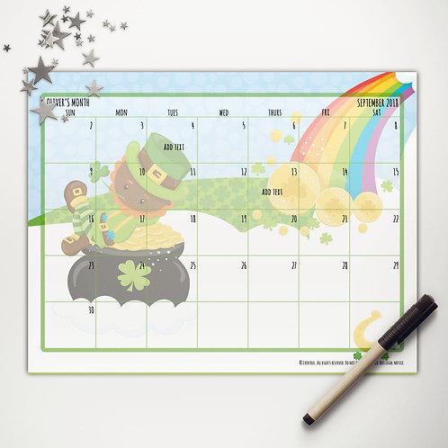 Good Luck Leprechaun Monthly Calendar (dark skin)