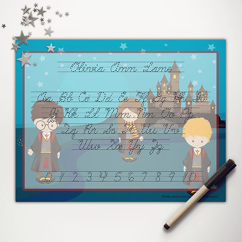 Wizard School Writing Mat (light skin | cursive)