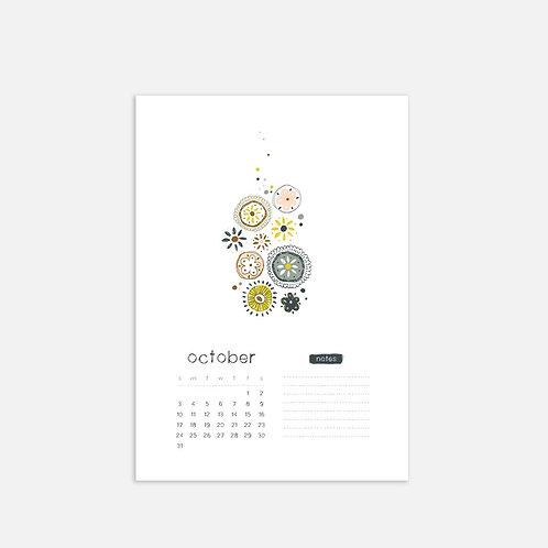 Whimsical Ye.10 Monthly Full Sheet Calendar