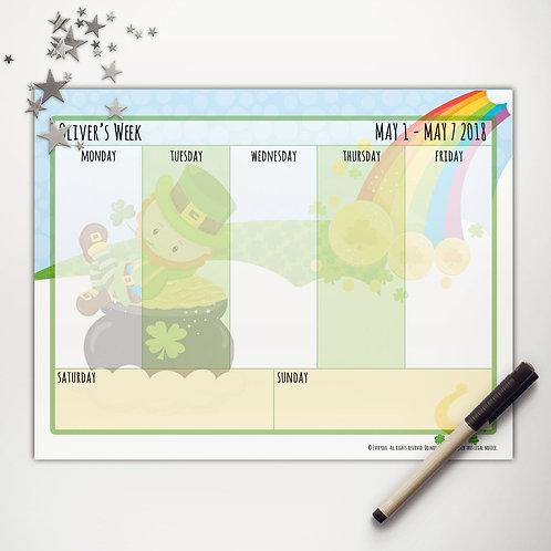 Good Luck Leprechaun Weekly Calendar (light skin)