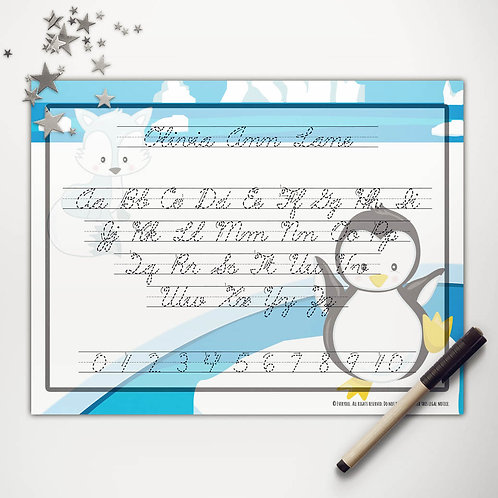 Arctic Friends Writing Mat (cursive)