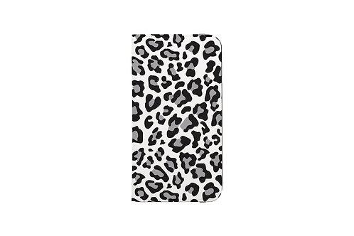 Snow Leopard Print Folio Wallet Case