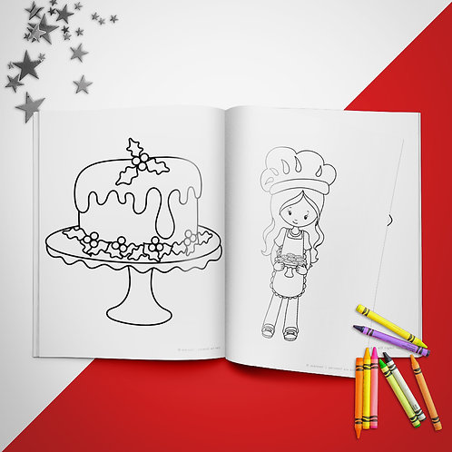 Christmas Cookies Girl Coloring Book Pages