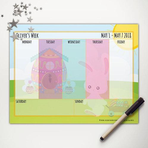 Easter Bunny Wagon Weekly Calendar