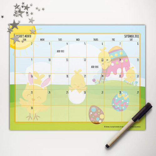 Easter Chicks Painting Monthly Calendar