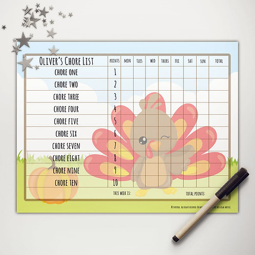 Little Turkey Basic Chore Chart with Points