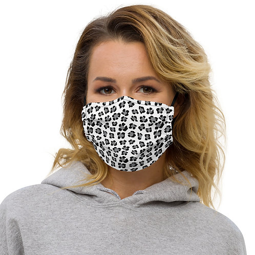 Snow Leopard Print Premium Face Cover with Pocket