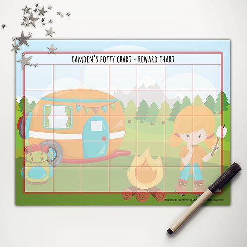Camper Camping Girl Basic Reward Chart (custom character)