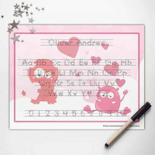 Valentine Monsters Writing Mat (print)
