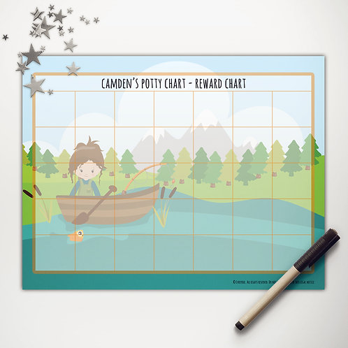 Goin' Fishin' Girl Basic Reward Chart (custom character)
