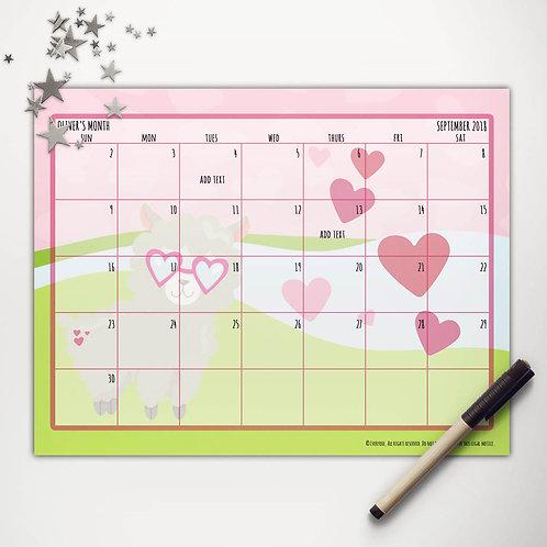 Valentine Llama Monthly Calendar