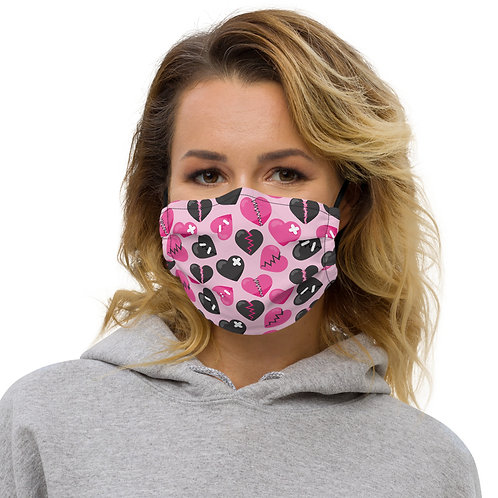 Anti-Valentines Fixed-Up Hearts Premium Face Cover with Pocket