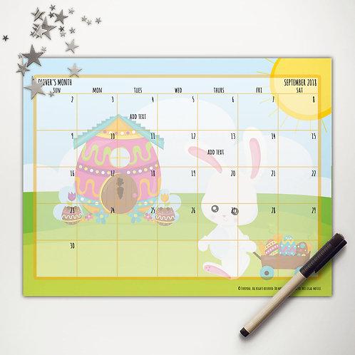 Easter Bunny Wagon Monthly Calendar