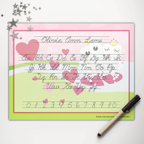 Valentine Frogs Writing Mat (cursive)