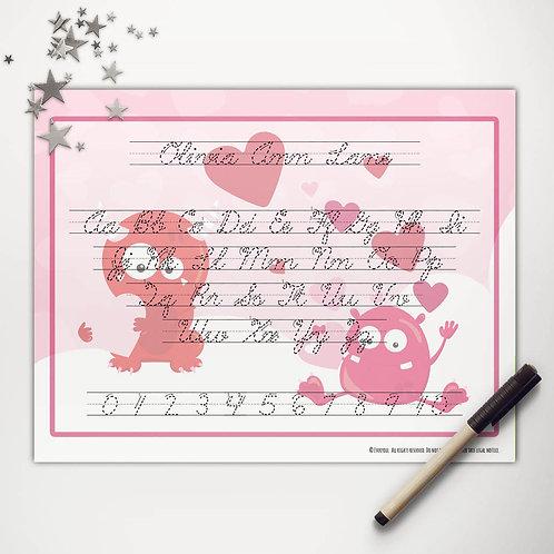 Valentine Monsters Writing Mat (cursive)