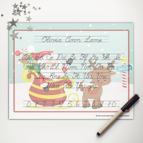 Santa + Rudolph Writing Mat (light skin | cursive)