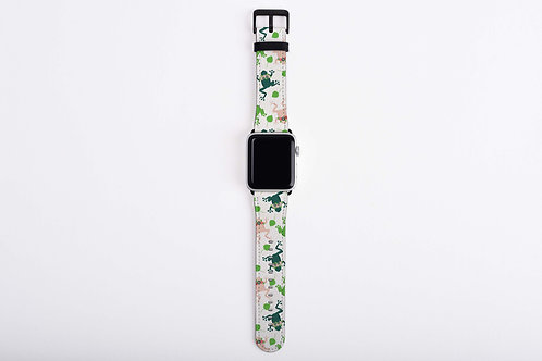 Floral Frogs Light Apple Watch Band