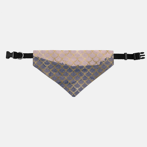 Blush + Navy Tragic Mermaid Scales Pet Bandana Collar