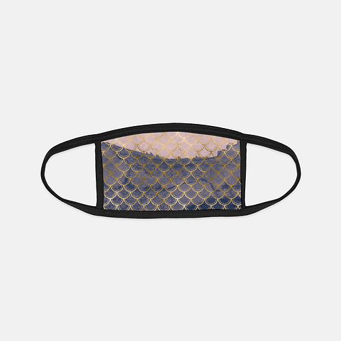 Blush + Navy Tragic Mermaid Scales Black Edge Face Cover