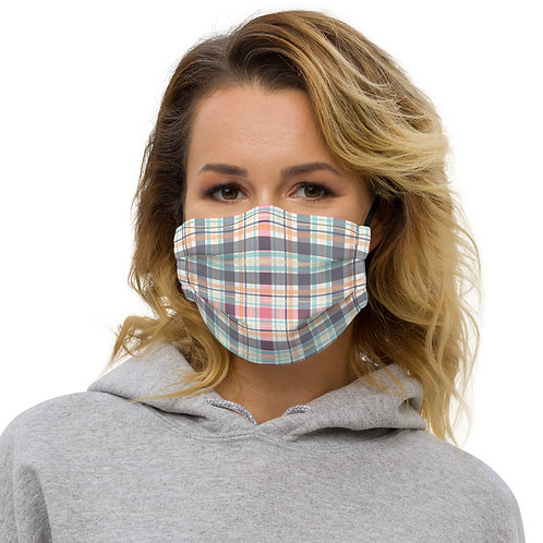 Tribal Plaid Pinks Premium Face Cover with Pocket