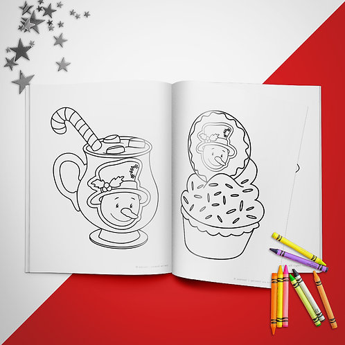 Christmas Cocoa +Treats Coloring Book Pages