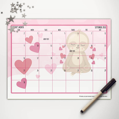 Valentine Sloth Monthly Calendar