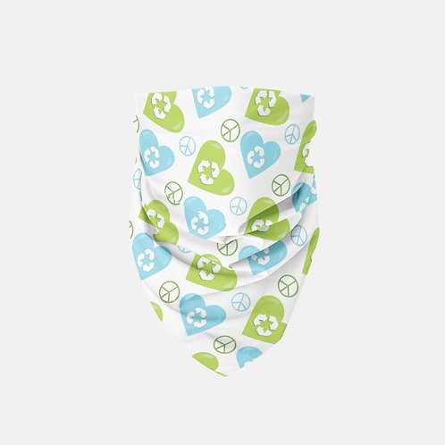 Earth Day Peace + Recycle Hearts Designer Bandana