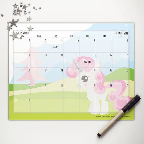Pink Pony Monthly Calendar
