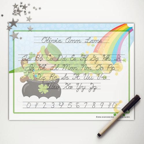 Good Luck Leprechaun Writing Mat (light skin   cursive)
