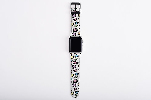 Pastel Snow Leopard Print Designer Apple Watch Band