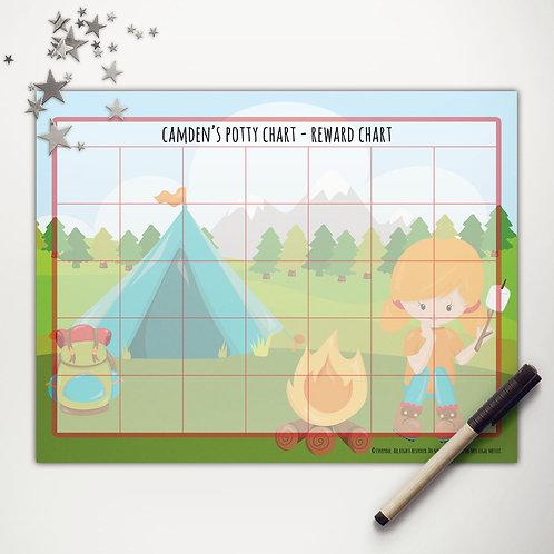 Tent Camping Girl Basic Reward Chart (custom character)