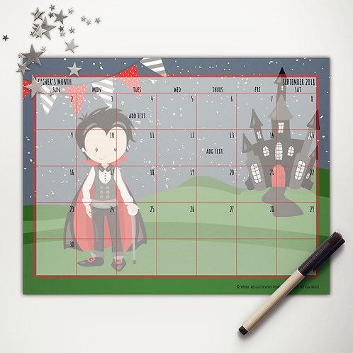 Vampire Boy Monthly Calendar