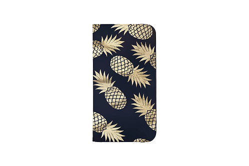 Navy + Gold Pineapple Folio Wallet Case