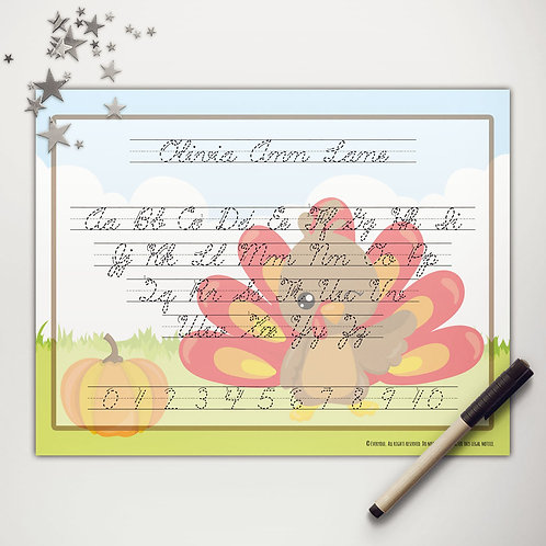 Little Turkey Writing Mat (cursive)
