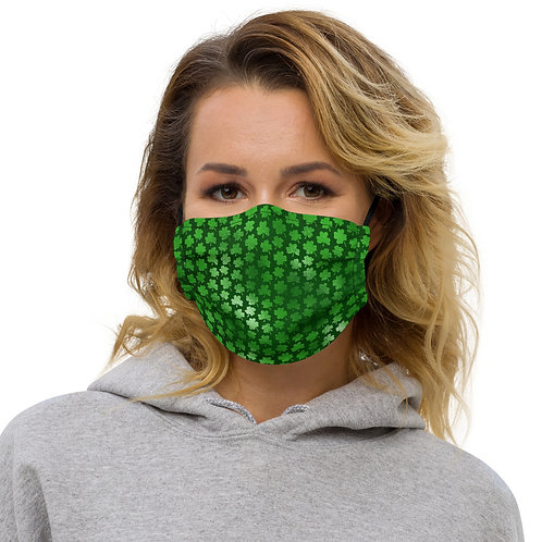 Luck Clover Field St. Patrick's Day Premium Face Cover with Pocket