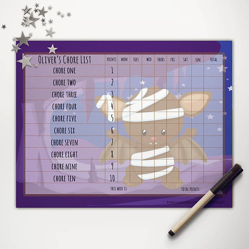 Bat Mummy Cave Basic Chore Chart with Points