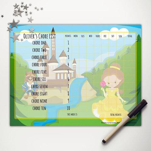 Princess Beauty Basic Chore Chart with Points (light skin)