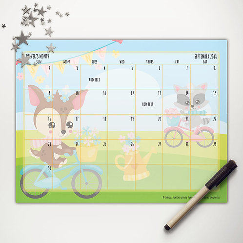 Spring Bicycle Friends Monthly Calendar